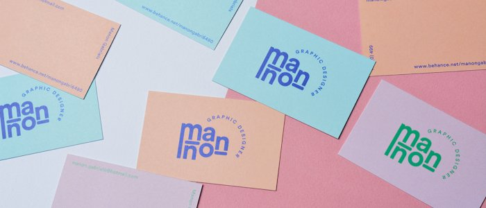 Creative business cards with contrasting pastel colours